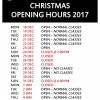 Christmas /New Year Opening Hours