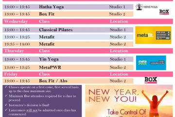 New Year Class Timetable